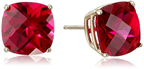 14k Yellow Gold Cushion-Cut Checkerboard Created Ruby Stud Earrings (8mm) ()