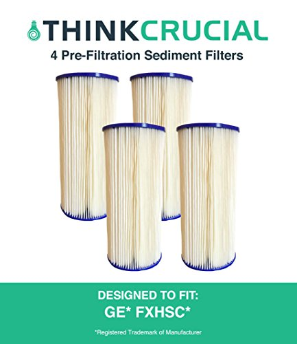 4 Replacements for GE FXHSC Whole House Pre-Filtration Sediment Filter, Also Fits Culligan R50-BBSA, Pentek R50-BB & DuPont WFHDC3001, by Think (Dupont Bank)