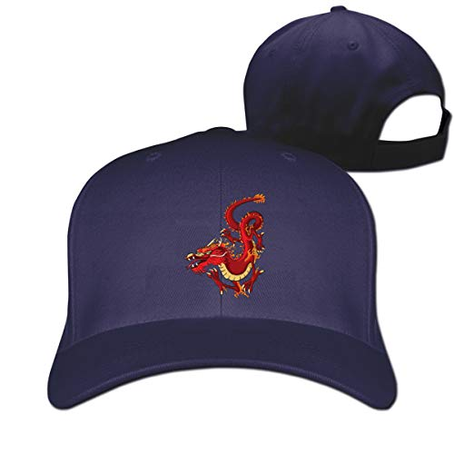 (Pure Color Peaked Caps Red Chinese Dragon Dad Baseball Hat Adjustable Unisex)