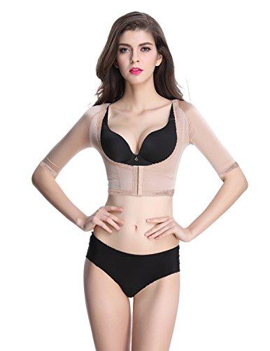 Shymay - top modellante shapewear da donna, a manica corta, per torso e braccia Nude1