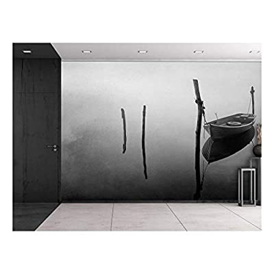 Gorgeous Print, Classic Artwork, Black and White Photo of a Lone Boat Floating on a Lake Wall Mural