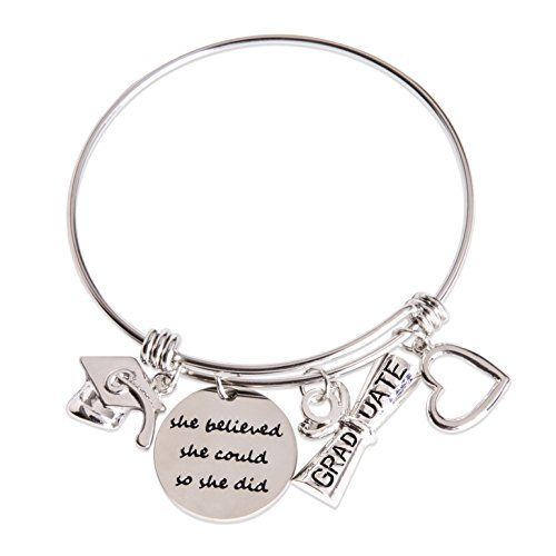 jollylife 2019 Graduation Gift Bangle Bracelet - Congrats Grad Stainless Steel Jewelry for Graduates