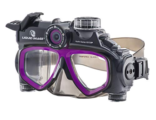 (Liquid Image Dive Mask Integrated with Underwater Digital Camera HD 720P Hydra Series Model 305P Purple )