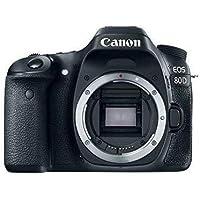Canon EOS 80D Digital SLR 24.2 MP Camera Body Only with APS-C Sensor, 7 fps, Dual Pixel CMOS AF - Black cámara para Deporte de acción