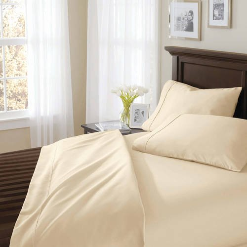 Better Homes and Gardens.. 400 Thread Count Solid Egyptian Cotton True Grip Bedding Sheet Set (King, Ivory) from Better Homes and Gardens..