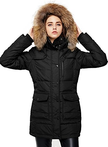Escalier Women`s Down Coat with Raccoon Fur Hooded Winter Puffer Jacket Black M