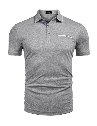 Smart Casual Shirts - COOFANDY Men's Short Sleeve Polo Shirt Classic Casual Business Slim Fit Cotton Polo T Shirts