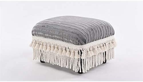 Brika Home Decorative Footstool in Ash Gray Striped
