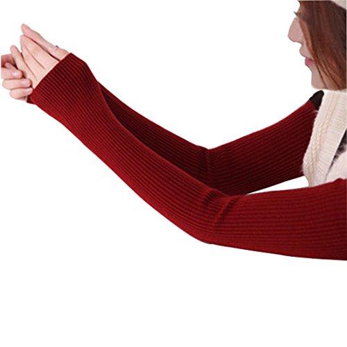 LerBen Women's Cashmere Warm Fingerless Gloves Winter Long Arm Warmer by Leben (Image #1)