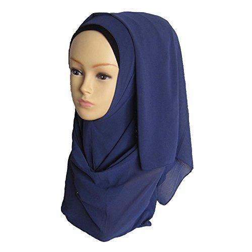 Solid color Fashion Scarf Chiffon Long Hijabs (Blue) - 2