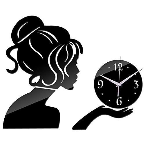Kamas 2019 New Wall Clock Clocks Reloj De Pared Horloge Large Decorative Living Room Modern Quartz Watch DIY 3D Stickers - (Color: Black) - - Amazon.com