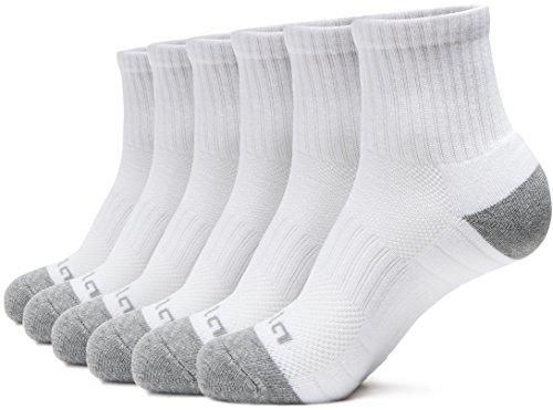 Tesla TM-MZS31-WHT_Medium Men's 6-Pairs Atheltic Crew Socks Cushioned Sports Comfort TM-MZS31