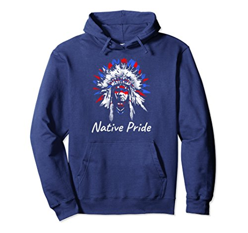 Unisex Native Pride American Indian Chief Hoodie Men Women Kids Large Navy -