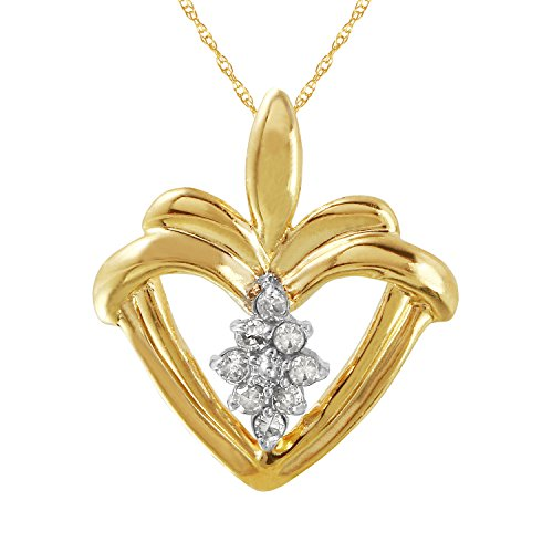 0.1 Carat Natural Diamond 10K Yellow Gold Heart Pendant Necklace for (0.1 Ct Gemstones)