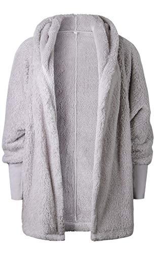 Hiver pais Chaud Manches Longues Sweat Capuche Hoodie de Peluche Overcoat Parka Duster Coat Manteau Jacket Veste Blouson Haut Top Gris