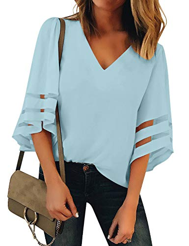 (Vetinee Women's Light Blue 3/4 Bell Sleeve Shirt Mesh Panel Blouse V Neck Casual Loose Tops Small (US 4-6))