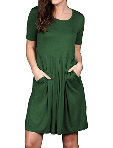 Green Cotton Dress - Halife Pleated Swing Pocket Dress For Women Short Sleeve Cotton Casual Dark Green M