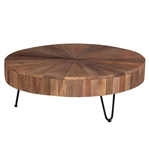 Hawthorne Collections Roland Solid Mango Wood Starburst Design Coffee Table