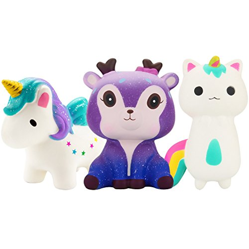 Grobro7 3 Pack of Unicorn Starry Deer Squishy Toy Slow Rising Cream Scented Simulation Cute Animal Squeeze Toys Charms Party Favor for Collection Gift, Decorative Props Large or Stress Relief