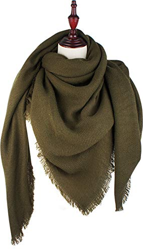 Pattern Scarf Triangle - VIVIAN & VINCENT Soft Classic Luxurious Blanket Solid Color Square Scarf Wrap Olive Green
