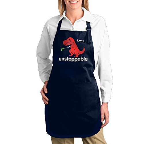 Dogquxio I Am Unstoppable Cute Dinosaur Kitchen Helper Professional Bib Apron With 2 Pockets For Women Men Adults Navy by Dogquxio