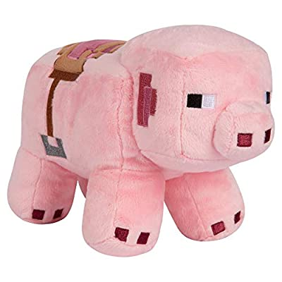 "JINX Minecraft Adventure Saddled Pig Plush Stuffed Toy (6.5"" Tall, Pink)"