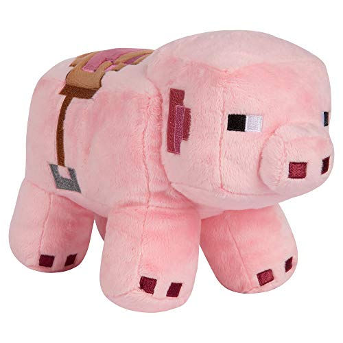 - JINX Minecraft Adventure Saddled Pig Plush Stuffed Toy, Pink, 6.5