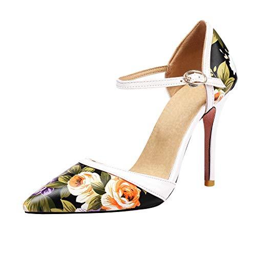 GHrcvdhw Summer New Coloured Printed Tip-Up Slim High-Heeled Sexy Elegant Beautiful Womens High Heels Sandals ()