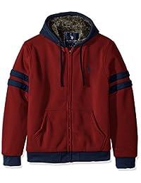 U.S. Polo Assn. Mens Striped Sleeve Fleece Hoodie with Sherpa Lining Cotton Lightweight Jacket