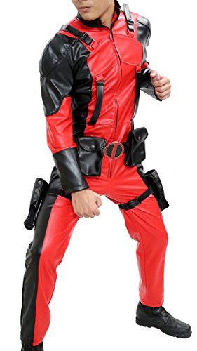 Deadpool Halloween Costume For Sale (Halloween Men's D-P Leather Jumpsuit Outfit Suit Costume Black and Red L)