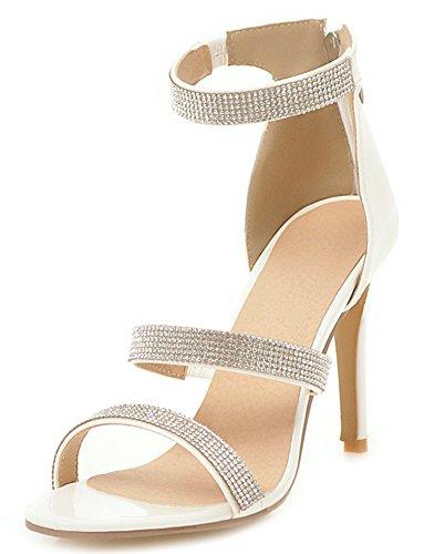 Aisun Women's Sexy Zip up High Stiletto Heels Sandals with Rhinestones White