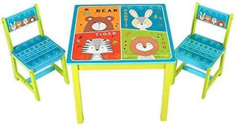 Blue_Bright - Juego de mesa para niños, 2 sillas, para regalar a un bebé, con diseño de dibujos animados, para comer, dibujar, leer, leer, para interiores y exteriores, madera de pino MDF,