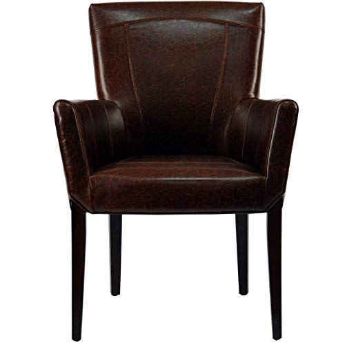 Bicast Leather Arm Dining Chairs - Safavieh Hudson Collection Greenwich Bicast Leather Arm Chairs, Brown