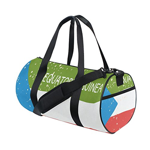 Distressed Equatorial Guinea Flag Travel Duffel Shoulder Bag ,Sports Gym Fitness Bags by super3Dprinted
