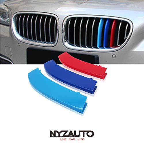 NYZAUTO M-Colored Stripe Grille Insert Trims for 2010-2016 BMW F10 F11 5 Series 528i 535i 550i with Standard Center Chrome Kidney Grill (10 Beams,Not Fit 12-Beam) ()