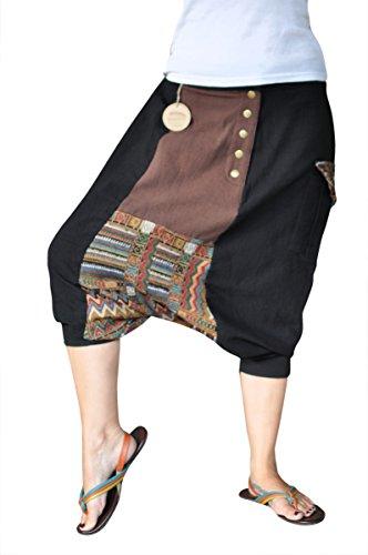 virblatt kurze Haremshose Muster Einheitsgröße S - XL Herren Aladinhose aus Baumwolle mit 2 Taschen alternative Kleidung- Jenseits