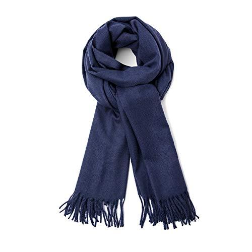 Scarfs for Women Flowomen Both-Side Colored Cashmere Wool Womens Scarves Winter Tassel Long Scarf Shawls Wraps (Navy Blue)