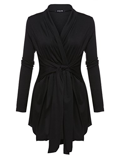 Tie Waist Front - OURS Women's Long Sleeve Open Front Lightweight Drape Cardigan With Self Tie Waist X-Large Black