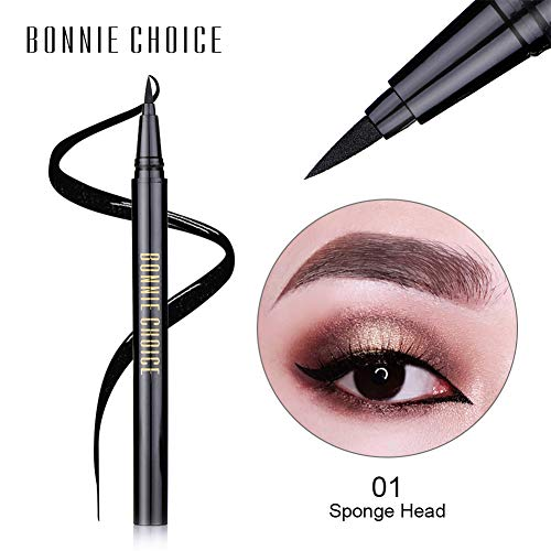 BONNIE CHOICE 2 Pack Waterproof Liquid Eyeliner Pen, Black Smudge-proof Fast Dry Eye Makeup Gel Eye Liner Ink Pen Long lasting, Sponge Head & Fibre Head