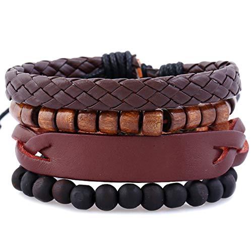(Weave Vintage Cuff Beads Evil Eye Male Men's Blue Leather Women Bracelets Men Female Jewelry 18)