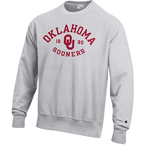 Oklahoma Crew Sweatshirt - Champion Men's NCAA Reverse Weave Crew Sweatshirt-Oklahoma Sooners-Large