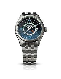 Traser 107036 P59 Aurora GMT Blue Swiss Watch, Stainless Steel Strap