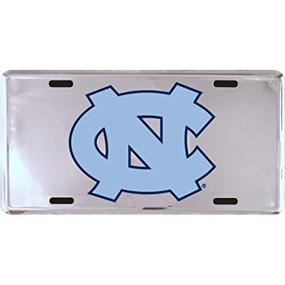 NCAA North Carolina Tar Heels (UNC) Silver Super Stock Metal License Plate: Sports & Outdoors