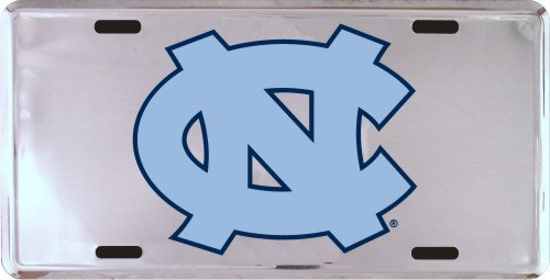 NCAA North Carolina Tar Heels (UNC) Silver Super Stock Metal License Plate ()