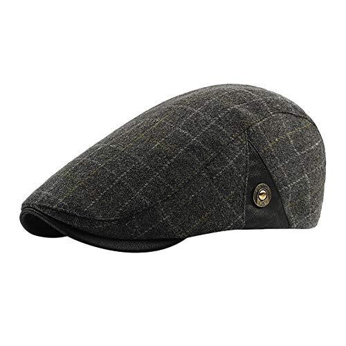 LIULIULIUWinter Vintage Plaid Ajustable Cap for Men Gatsby Peaked Newsboy Beret Hat (Yellow) -