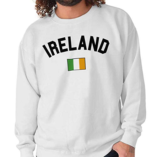 Brisco Brands Ireland Country Flag Soccer Fan Irish Pride Crewneck Sweatshirt White