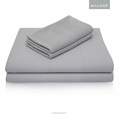 MALOUF Split Head 100% Rayon From Bamboo Sheet Set - 4-pc Set - Queen - Ash (Head Split)
