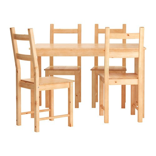 Ikea Table and 4 Chairs Solid Pine Wood (Light Brown) by Ikea