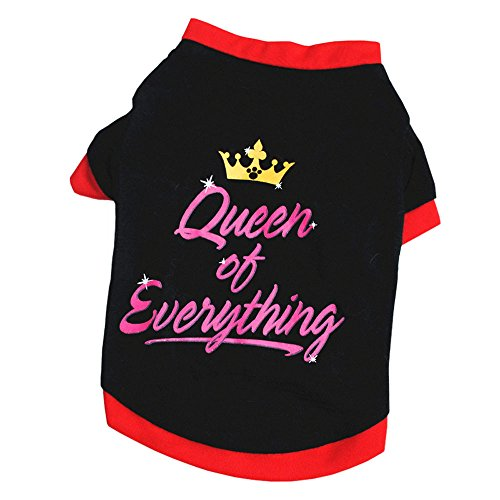 Napoo Cute Summer Pet Puppy Crown Letter Print Vest Shirt for Small Dog (Black, M)