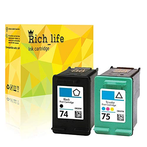 Rich_life Remanufactured Ink Cartridge Replacement for HP 74 HP74 CB335W HP 75 HP75 CB337W for HP Printer PhotoSmart Deskjet OfficeJet 2 Pack (1 Black, 1 Tri-Color)